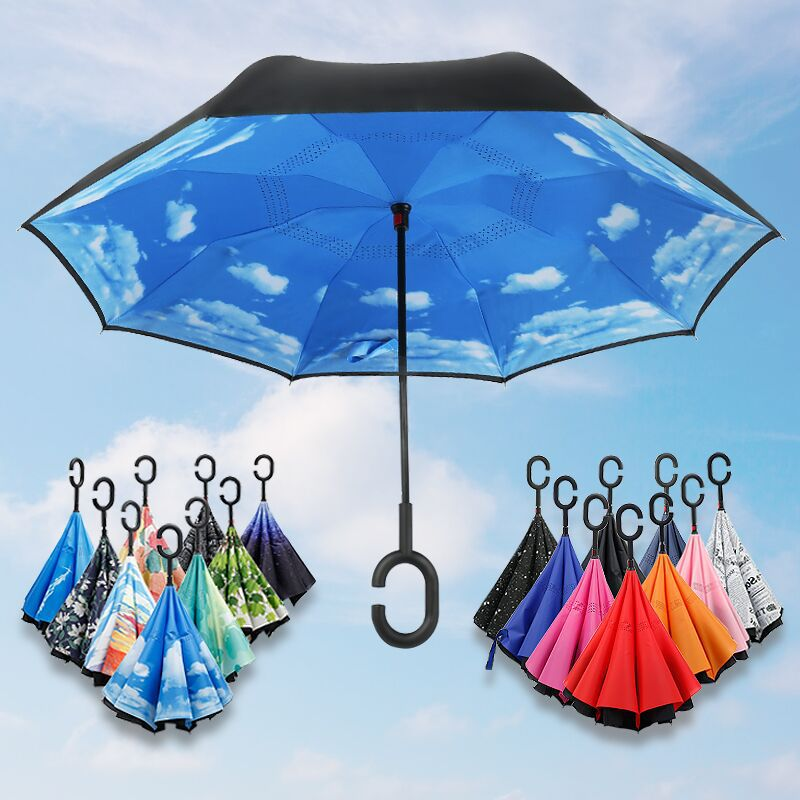 Manufacturers Currently Available Wholesale Customizable Reverse Umbrella Double Layer C- Shaped Umbrella Hands-Free Not Wet T-s