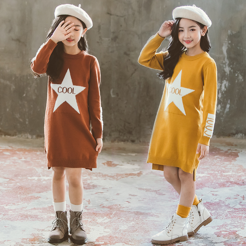 Girl Dress Sweaters Autumn Fall Winter Soft Warm Baby Clothes Top Outfits Teenagers Knitwear 1