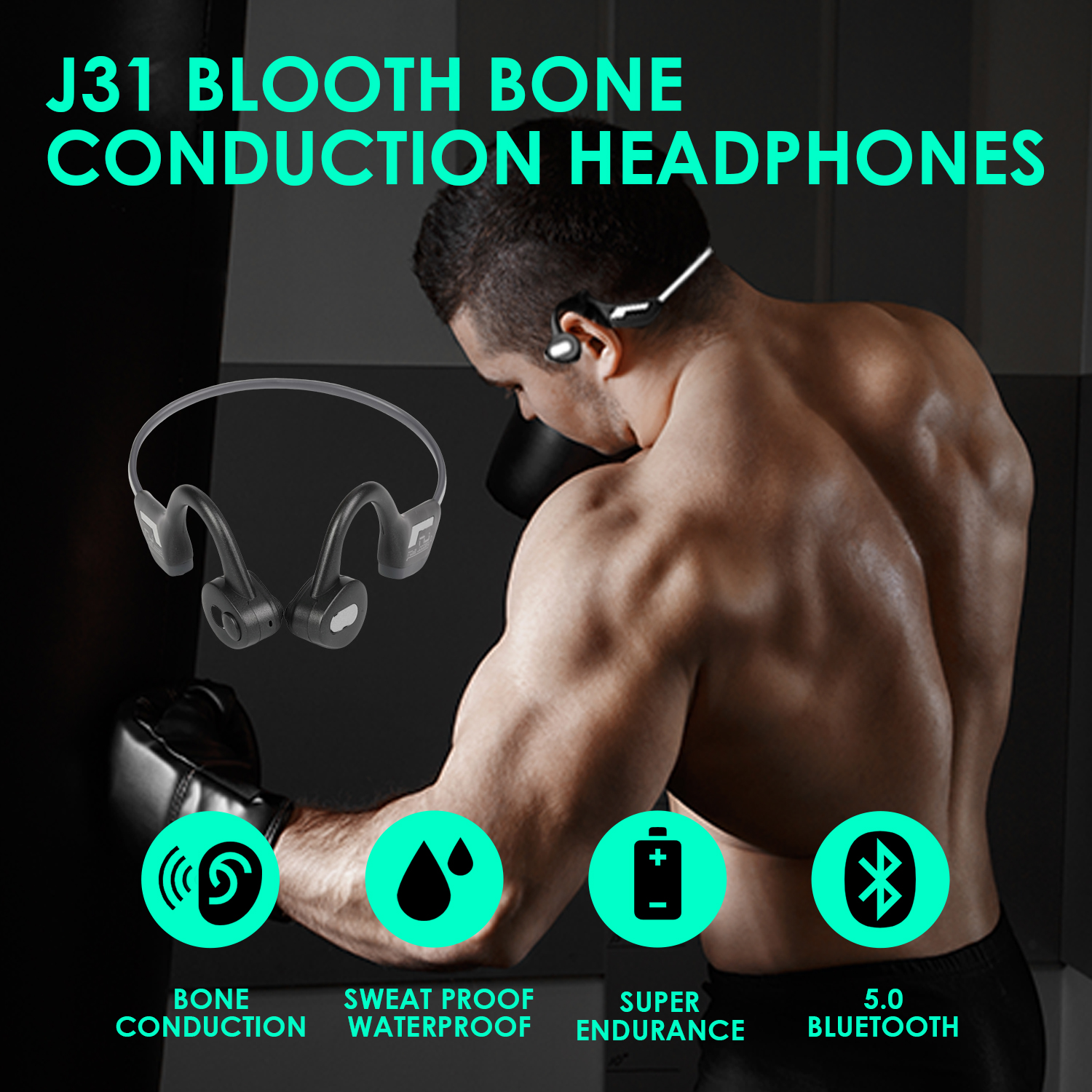 J31 Wireless Bone Conduction Headphone Bluetooth 5.0 Binaural Stereo Bone Headset Sweatproof Ultra Light Luminous Sports Headset