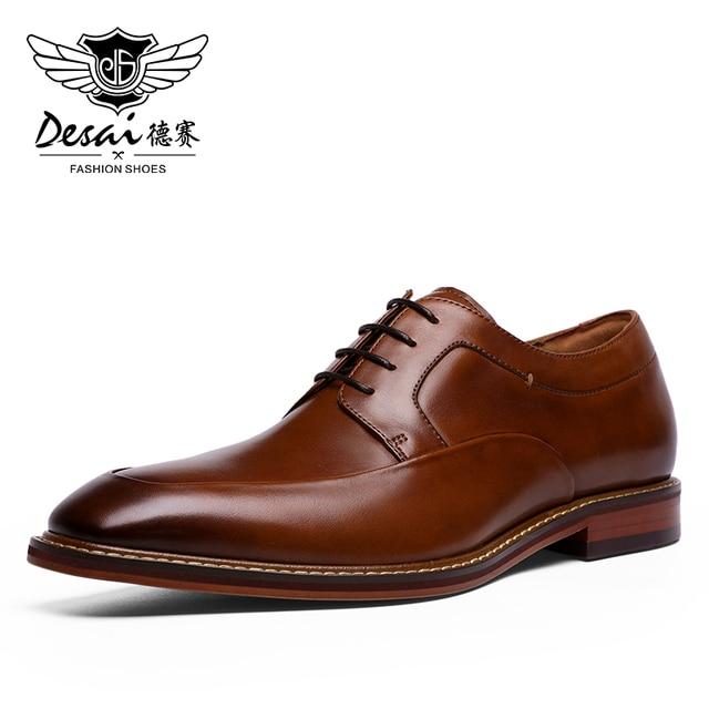 Мужские высокие кроссовки до щиколотки DESAI, Повседневная Свадебная обувь из натуральной кожи, 2019