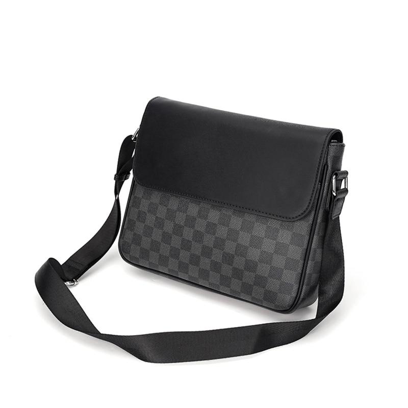 HORIZONPLUS America And Europe LUXURY Fashion Check Pattern Vegan Leather Business Shoulder Bag Office Messenger Bag For Men