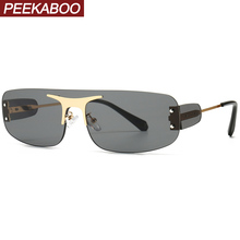Peekaboo rimless shield sunglasses women square metal once p