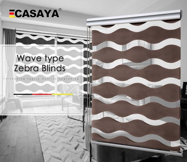 Dalga tipi yüksek kaliteli zebra jaluzi 50% ~ % 90% gölgeleme oranı çift katmanlı moda gündüz gece perdeleri oturma odası için ücretsiz kargo