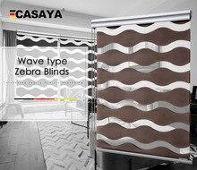 Tipo de onda de blinds zebra 50% ~ 90% taxa de sombreamento de alta qualidade Double layer Moda noite Dia persianas para sala de estar frete grátis