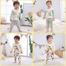 Kids Sleepwear Underwear-Set Clothing Girls Pajamas Baby-Boy Children Suit Cotton Belly-Protector