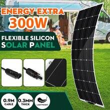 Kit de Panel Solar Flexible, 18V, 300W, célula Solar de silicona, Conector de cargador de batería, teléfono inteligente con Banco de energía, barco, coche, Camping cargador solar para telefono movil autocaravana