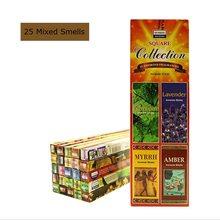 Bâtons d'encens originaux indiens, 25 parfums mélangés, sauge blanche, lavande, bois de santal pour la méditation, aromathérapie, 170 pièces/lot
