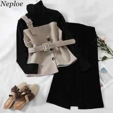 Neploe, комплект из двух предметов, Вязаный топ с поясом и высоким воротом+ юбка, эластичная талия, с разрезом,, весна-осень, повседневный Модный женский костюм 69544