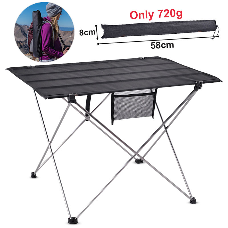 Portable Foldable Picnic Table Outdoor Furniture Gray Tables Aluminium Alloy Ultra Light Fishing Camping Equipment Folding Desk