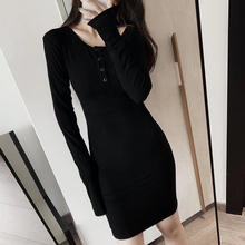 Women's Clothing 2019 Autumn Sexy V-neck Short Mini Dress Long Sleeves Button-up Two Wear Slim-Fit Basic Black Dress Vestidos pink two way wear long sleeves crew neck sexy sweater