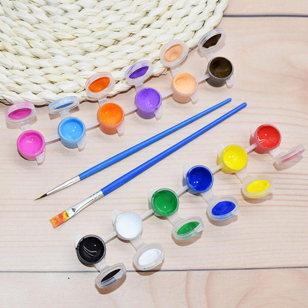 12 Colors Oil Paints With 2 Paint Blue Brushes Set Acrylic Paints For Oil Painting Nail Art Clothes Art Digital Wall Painting Se