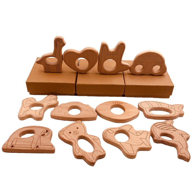 1Pcs Wooden Teether Love Wood Pendant Rodent Teething Toy DIY Nursing Necklace Pacifier Chain Bite Chew Gift Children Products