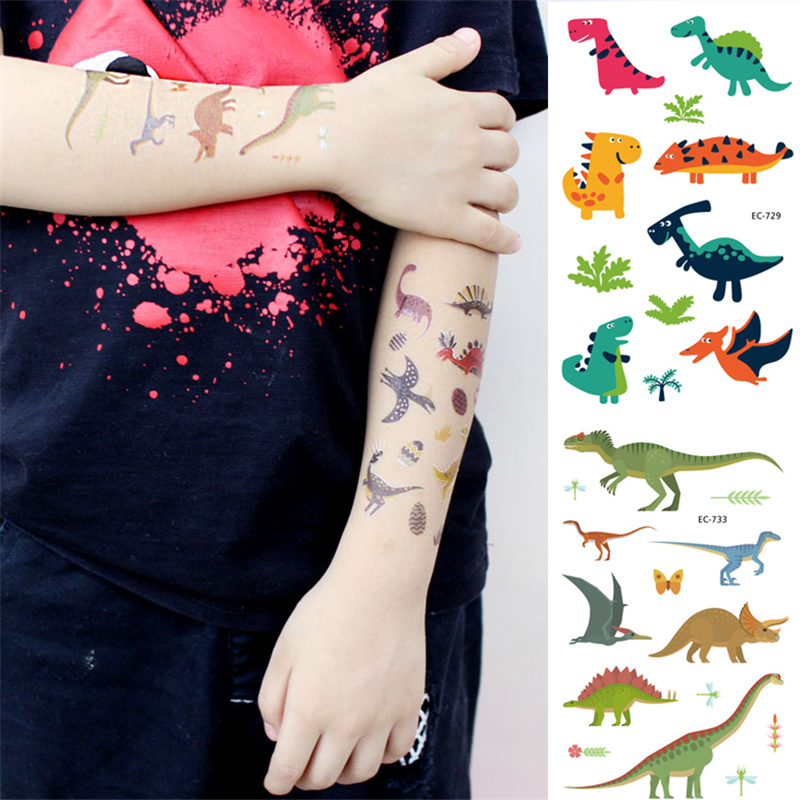 28 Style 1PCS Disposable Tattoo Sticker Dinosaur Party Decor Baby Dino Birthday Party Favors Temporary Dinosaur Party Supplies,Q