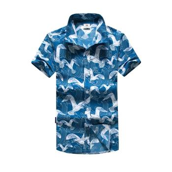 Summer Short Sleeve Shirt For Men Bird Print Beach Wear Shirts New Men Hawaiian Shirts Top Camisa Casual Holiday Shirts Tee Tops tanie i dobre opinie Evobak Męska Krótki ST35 Poliester Beachwear Polo Pasuje prawda na wymiar weź swój normalny rozmiar Szybkie suche Lato