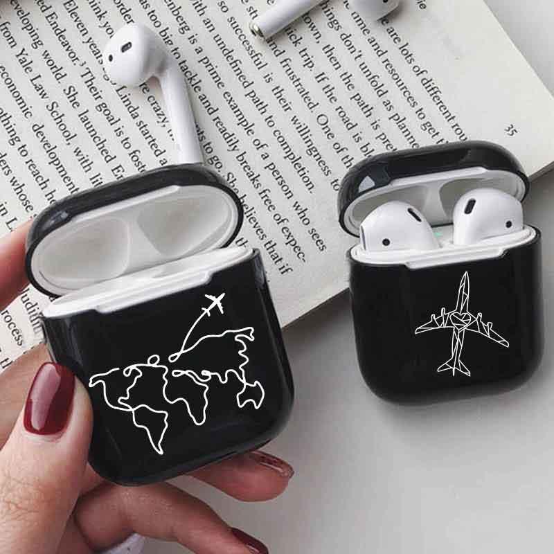 Hard Earphone Case For Apple Airpods Case Cute World Map Trip Black Luxury Wireless Bluetooth Earphone Case For Airpods Cover