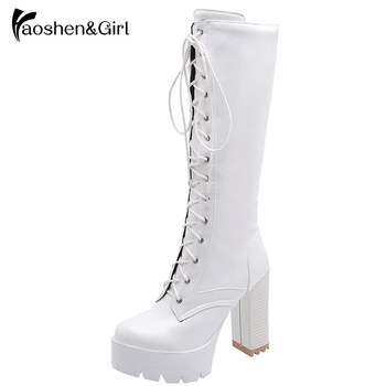 Haoshen&Girl Hot Sale Autumn Winter Lacing Knee High Boots Women Platform White Square Heel Woman Leather Shoes PU Size 34-43