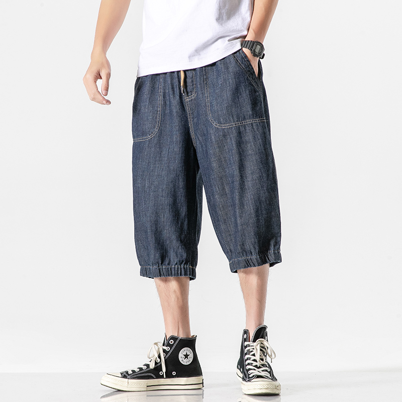 2020 Mens Loose Baggy Denim Short Men Jeans Streetwear Hip Hop Cargo Shorts Pocket Bermuda Male Dark Blue Calf-Length Pants