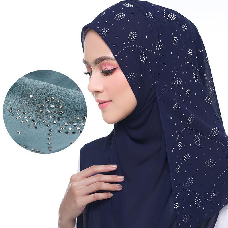 72*175cm Summer Muslim Women Chiffon Hijab Scarf Diamonds Glitter Femme Musulman Shawls Wrap Islamic Headscarf Malaysia Hijab