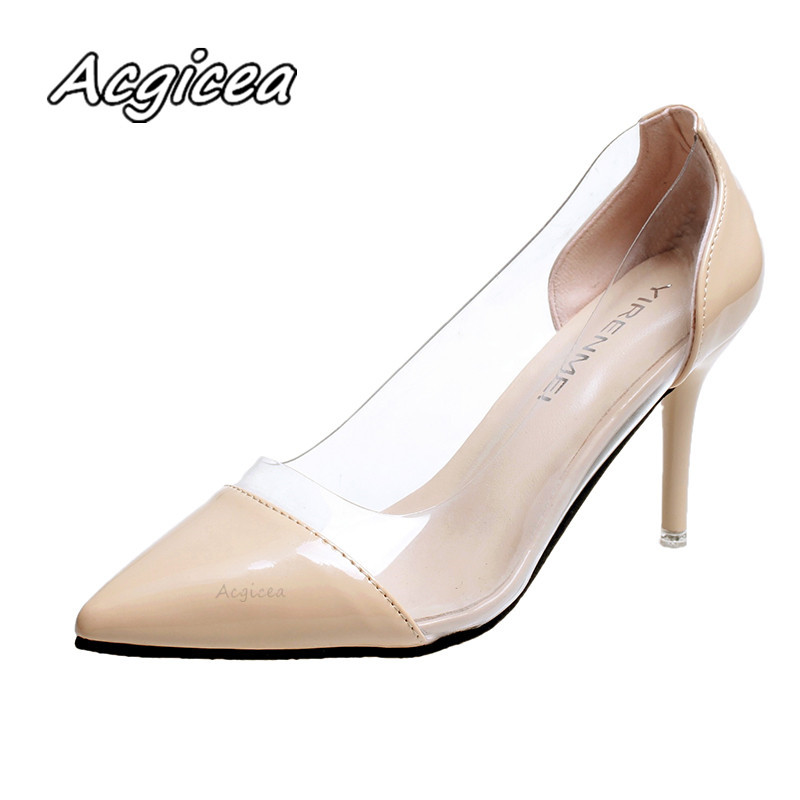 Women Pumps 2019 Transparent High Heels Sexy Pointed Toe Slip-on Wedding Party Shoes For Lady Leopard F125