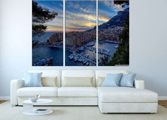 Modern Colorful Photo Picture Monte Carlo Harbour Room Decor Cities Canvas Painting  River Living