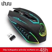 UHURU משחקי עכבר 2.4G נטענת Wireless 5 כפתורים לשינוי LED צבע ארגונומי 10000 DPI מחשב עכבר משחקי מחשב