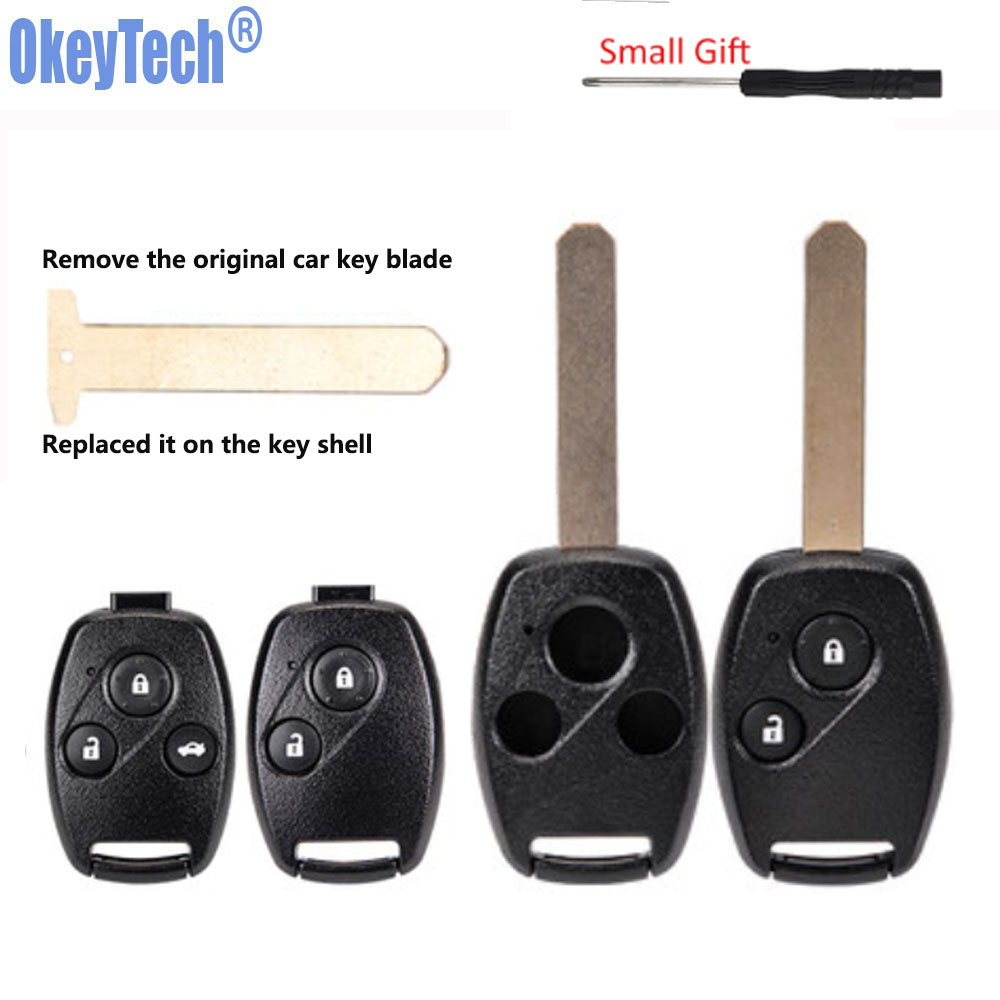 OkeyTech for Honda Crv Pilot Accord Fit City Remote Key Shell Cover Case Fob 2 3 Button Pad HON66 Uncut Blank Blade for Honda(China)