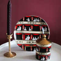 Ретро винтажная керамическая баночка с крышкой, итальянская опера, декоративная тарелка, десерт, подсвечник, контейнер для ватных тампонов