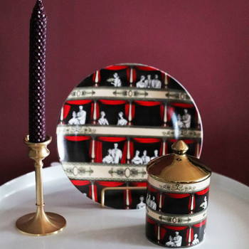 Retro Vintage Ceramic Jar with Lid Italian Opera House Decorative Plate Dessert Plate Candle Holder Bottle Cotton Swab Container