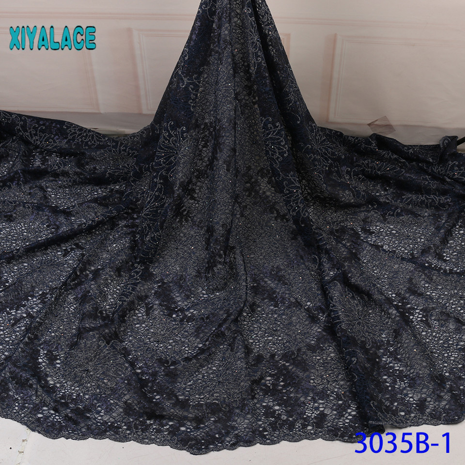 Black Lace Fabric Sequins African Lace Fabric Latest Nigerian 2019 High Quality Lace French Bridal Lace For Dress YA3035B-1