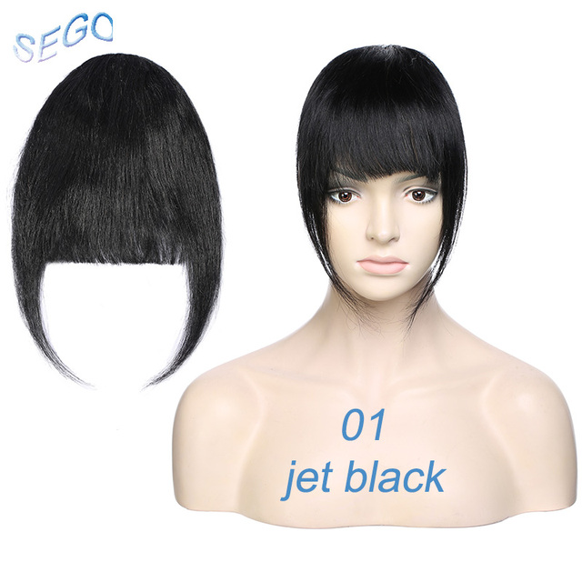 Sego 25g Neat Front Fringe Clip In Human Hair Bangs Remy Hair Extensions Sweeping Side Blunt Bang Natural Hairpieces 8 Colors Super Sale 5007b Cicig