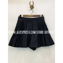 New Black Women's 100%cotton Shorts Retro Shorts 2020 high quality Summer Fashion New Casual Shorts High waist Wide-leg shorts