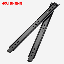 AOLISHENG 무료 배송 27mm 너비 두 섹션 볼 베어링 텔레스코픽 가구 키보드 트레이 서랍 슬라이드 레일