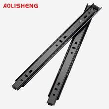 AOLISHENG Free Shipping 27mm Width Two Sections Ball Bearing Telescopic Furniture  keyboard tray  Drawer Slides Rail