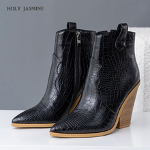 2019 Women Winter Ankle Boots Square Heels Pu Leather Flock Autumn Bota Feminina Stiletto Mid Heels Boots Ankle Boots for Women