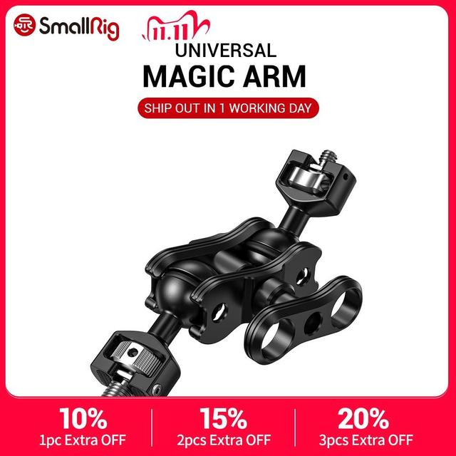 SmallRig DSLR Camera Articulating Magic Arm with Double Ballheads (1/4'' & 3/8'' Screws) Adjustable Articulated Arm 2212