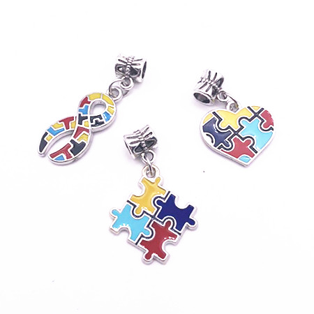 Flower Enamel Autism Awareness Jigsaw Puzzle Piece Charms Pendant With Big Hole Fit DIY Bracelet & Necklace Jewelry Making 10PCS(China)