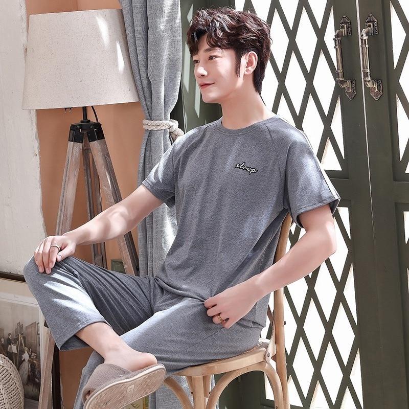 Мужская пижама лето с коротким рукавом топы длинные брюки 100% хлопок пижамы домашняя одежда костюм простой мода пижамы мужчин