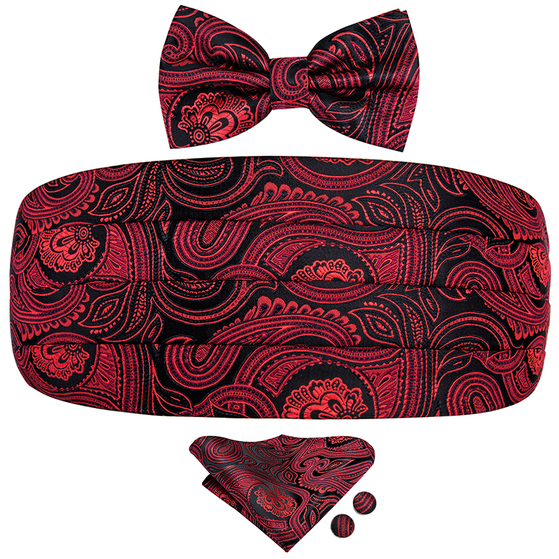 YF-2006 Hi-Tie Luxury Designer Paisley Red Cummerbund Bow Tie Set Formal Tuxedo Corset Elastic Belt For Men Wedding Cummerbunds
