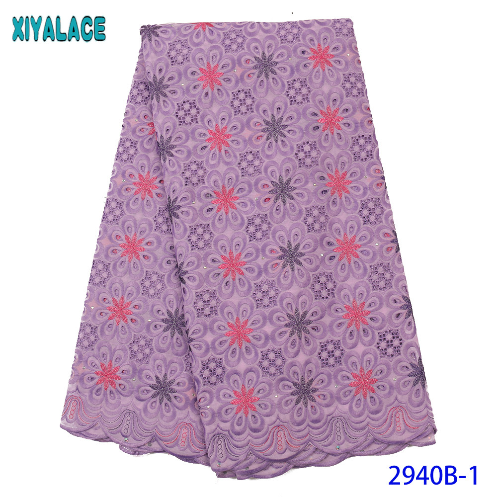 2020 Color Swiss Voile Lace In Switzerland High Quality Nigerian French Pure Cotton Embroidered Lace With Stones KS2940B
