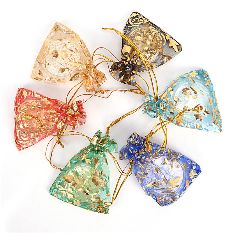 10pcs/set Organza Candy Jewelry Wedding Gift Pouch Bags 3szie Mix Color For Party Holiday New Year Use Random