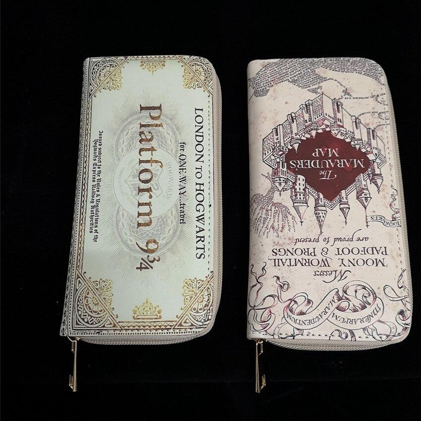 Potter Hogwarts 9 3/4 Platform Long Zipper Wallet Cosplay Admission Letter Marauders Map Hogwarts Express Pattern Purse Wizard