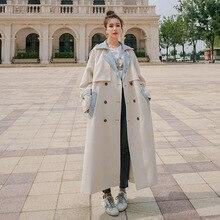 Giacca a vento da donna cuciture a contrasto di colore lunga primavera autunno coreano trench di grandi dimensioni femminile indossa una cintura mantello da donna