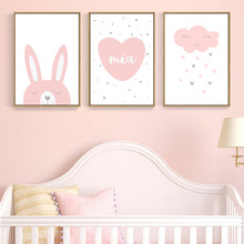 Cartoon Rabbit Pink Cloud Wall Art Canvas Poster Nursery Quotes Print Nordic Painting Wall Picture Kids Living Room Decoration astronaut spaceship canvas poster nursery quotes wall art print cartoon painting nordic kids decoration pictures baby room decor