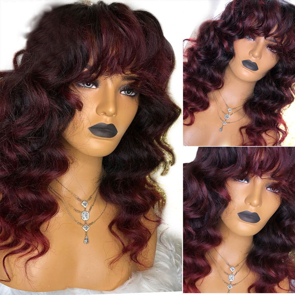 Eversilky Body Wave 99J Burgundy Ombre Red 13x4 Lace Front Human Hair Wigs With Bangs Pre Plcuked Brazilian Remy Fringe Wigs
