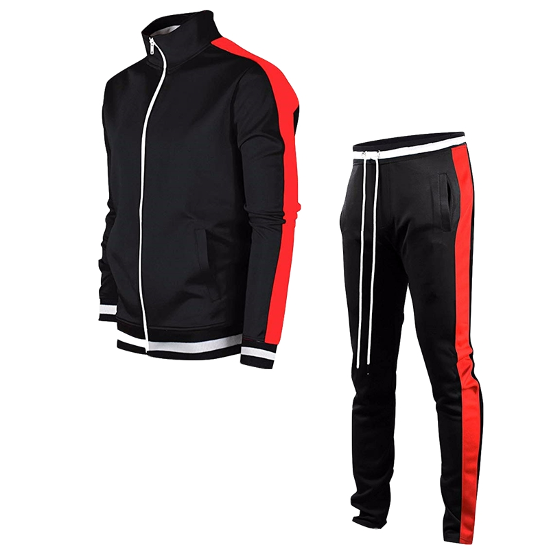 Men's Zip Stand Collar Long Sleeve Set Youth Color Matching Jogging Sports Cardigan Fashion Trend Fitness Men's Two-Piece Set
