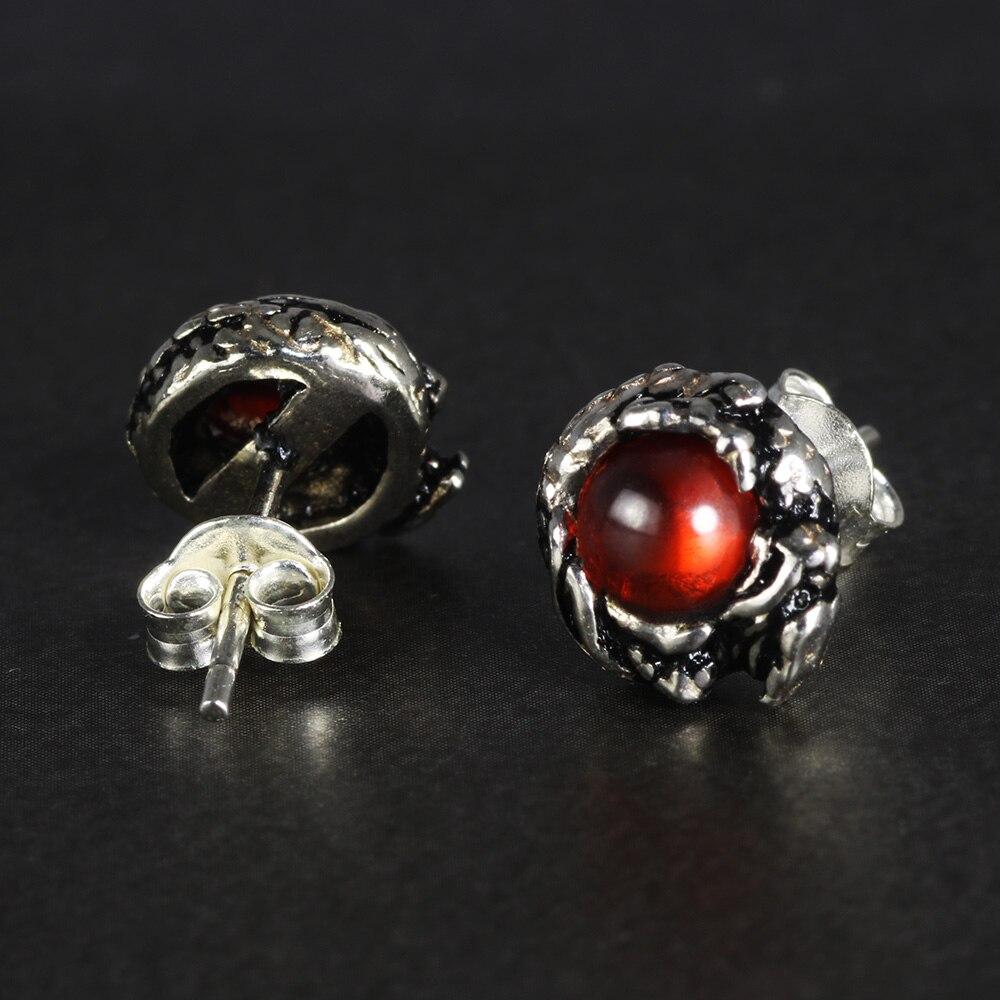 100% Murni 925 Sterling Silver Stud Earrings untuk Wanita Pria Naga - Perhiasan fashion - Foto 3