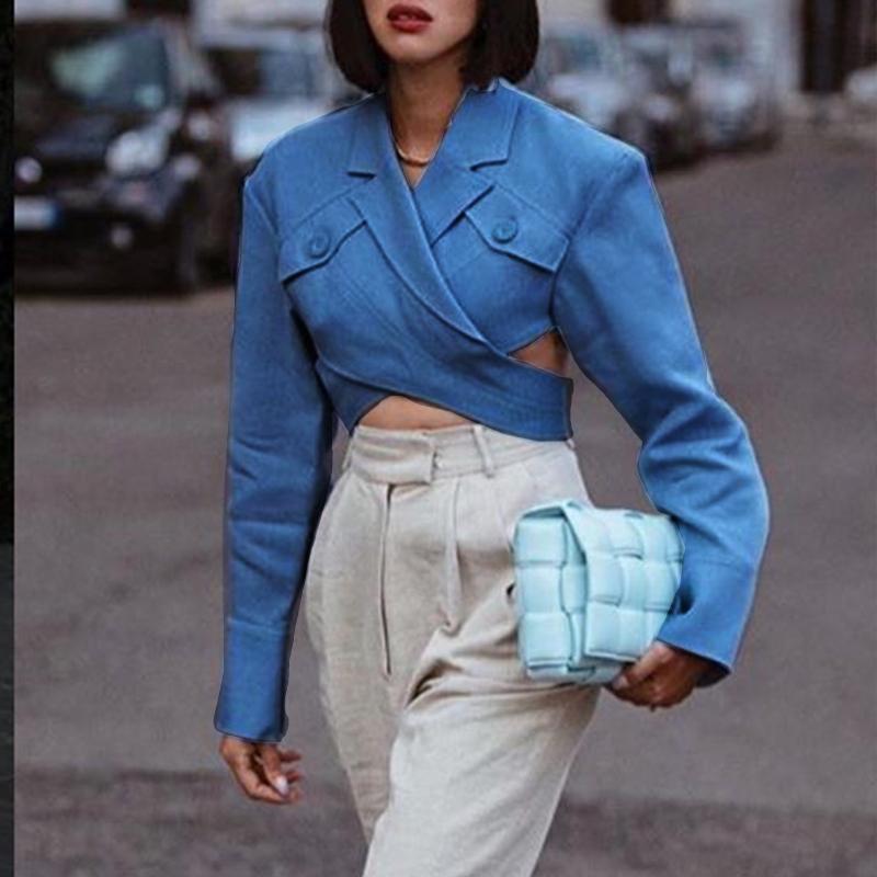 Aartiee High Fashion Short Crop Blazer Women Top Autumn Winter Sexy Long Sleeve Pocket Slim Blazer Coat Female Trench Collar Top