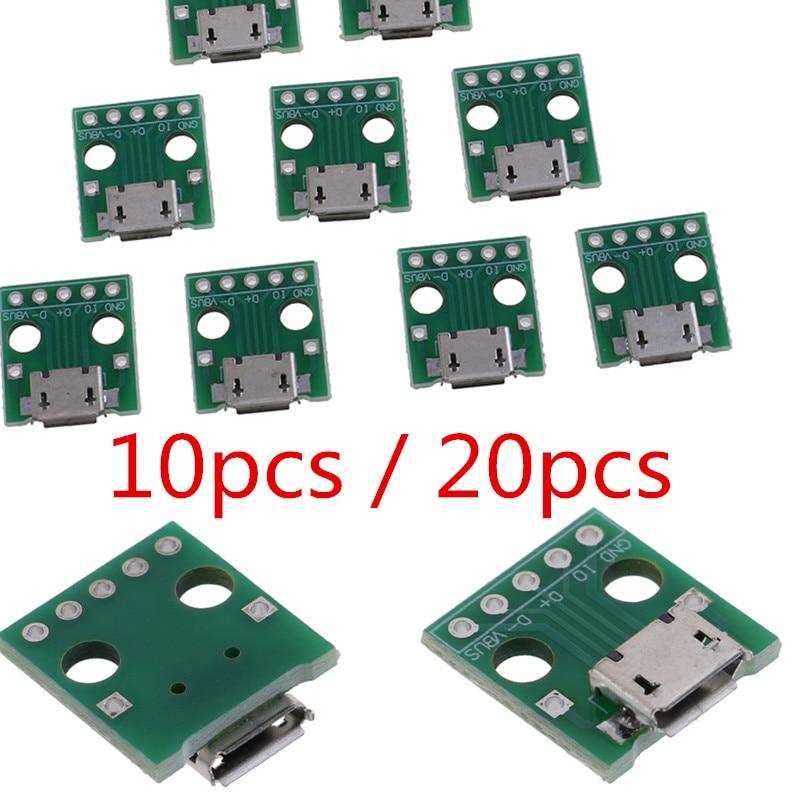 10Pcs / 20pcs Mini Micro USB To DIP Adapter 5Pins Female Connectors PCB Converter Boards Hot Sale