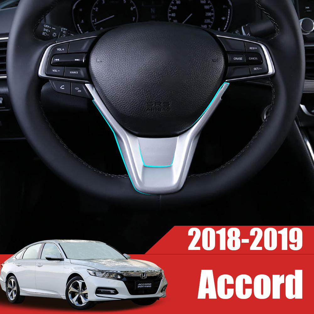 ABS Car styling Steering Wheel Frame Trim Sequins Sticker interior moulding Covers For <font><b>Honda</b></font> <font><b>Accord</b></font> 10th <font><b>2018</b></font> 2019 <font><b>Accessories</b></font> image