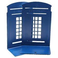 1 Pair London Telephone Booth Design Anti-Skid Bookends Book Shelf Holder Stationery(Dark Blue)